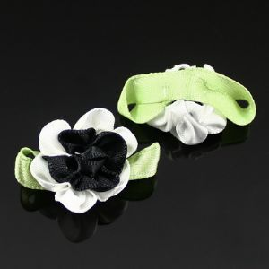 Small fabric flowers, Satin, black, white, 3.5cm x 2cm, 2  pieces, (CDH077)